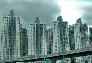 on the road to highrise2: on HK highway heading for highrise accommodation on stormy day