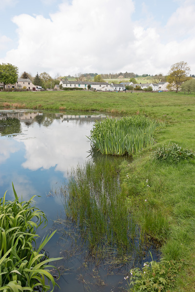 Village pond and green: The pond and village green at Caldbeck, Cumbria, England.