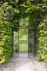 Park gate: A park gate at Holker Hall, Cumbria, England. Photography in the grounds of this estate was freely permitted.