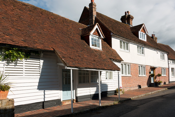 Sussex cottages: Cottages in the Sussex Weald, England.