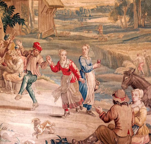 Country dancing: Part of an old tapestry at the Blickling Estate, Norfolk, England, depicting villagers dancing. Non-flash photography of historical artifacts at this National Trust property was freely permitted.