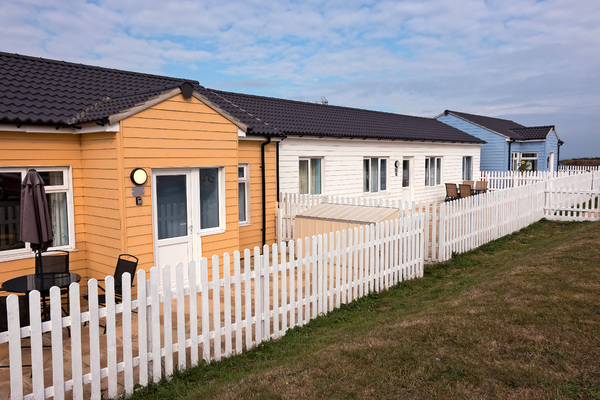 Holiday chalets: Holiday chalets by the coast of Norfolk, England.