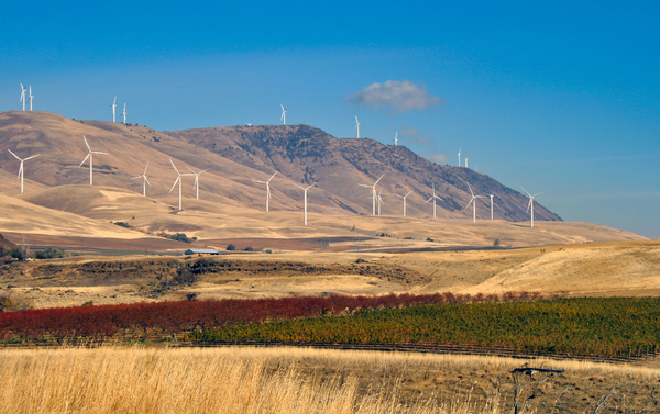 Sky blue and windmills: Windmills on a bare mountain.