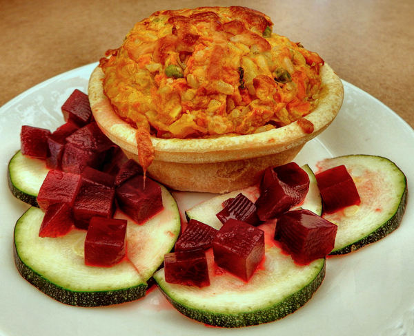 vegetable pie1: pastry and vegetables meal including cubed beetroot and sliced zucchini