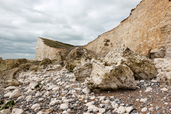 Chalk cliff and boulders