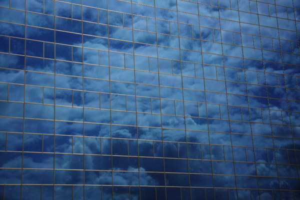 Cloudy glass front: Cloudy glass front placed in Los Rosales, Coruña, Galicia, Spain, EU