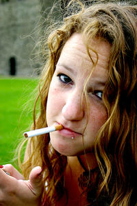 Having A Fag: She got annoyed because I told her to quit sucking on the cancer-sticks. Nasty habit :P