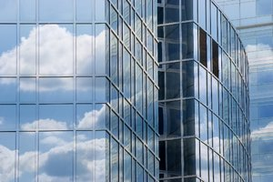 Clouds reflected in corporate