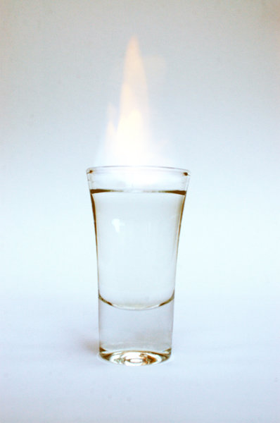 On fire ...: A glass wodka (or vodka) in fire ... have a drink!