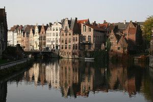 Ghent canal: A canal and old buildings in Ghent, Belgium.