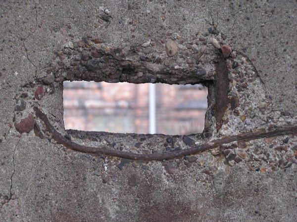 Hole in the concrete wall