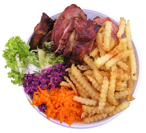 A good meal: A good meal - some fries, cabbage and grilled meat.Please comment this shot or mail me if you found it useful. Just to let me know!I would be extremely happy to see the final work even if you think it is nothing special! For me it is (and for my portfolio