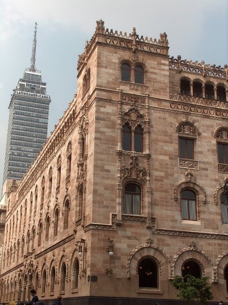 Mexico City scenes 12: Palacio Postal and behind, the Latinoamericana Tower, Mexico DF