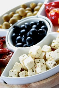 Feta Cheese: Cubes of feta cheese with olives