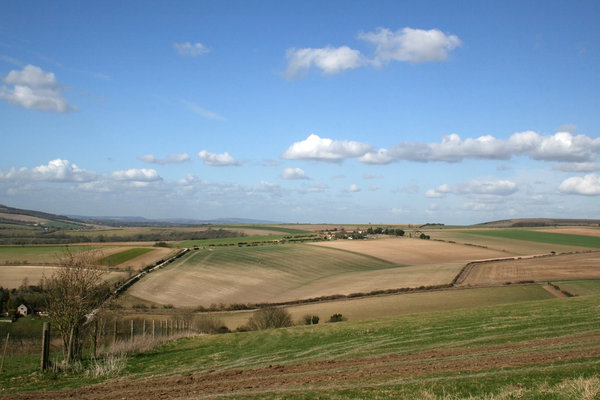 South Downs 1: The landscape of the South Downs, West Sussex, England, in spring.