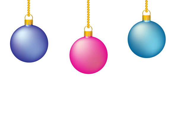 Christmas Baubles: Christmas tree decorations on a white background.  Illustration.