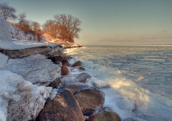 Icy coastline - HDR: A coastline covered in ice. The picture is HDR using 7 images.