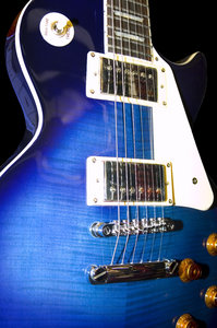 Guitars: A blue electric guitar