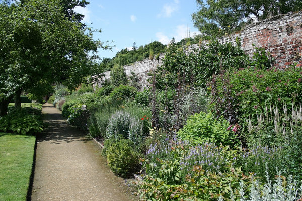 Walled garden: Part of a large walled garden in West Sussex, England.