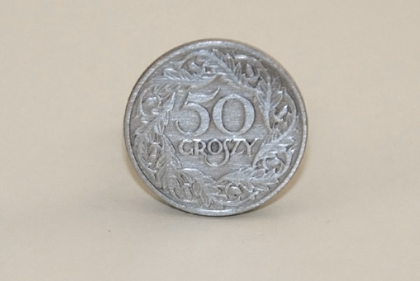 Old polish coin: Fifty groszy (half polish zloty) - coin from times before second world war
