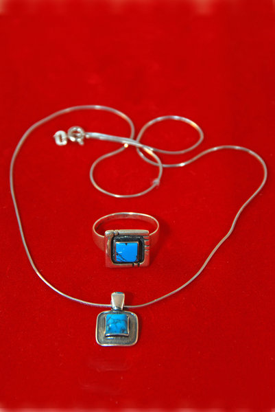Turquoise and silver  jeweller: pendant on silver chain and turquoise ring