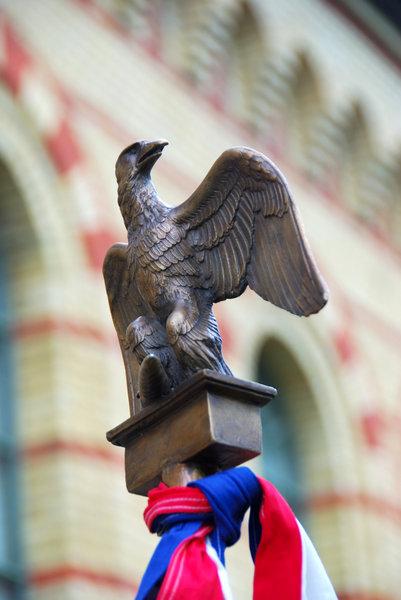 Eagle from napoleonic army ban: Brass eagle from the top of military flag
