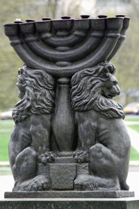 Jewish candlestick with lions