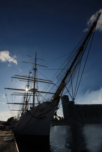 Silhouette of tall ship