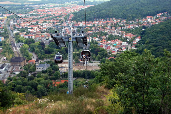 Small town from bird's eye vie: German small town Thale in Harz Mountain, Germany. View from cable-railway to Rostrappe