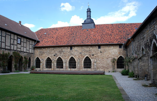 Courtyard of medieval monaster: Cloister of  german White Monks