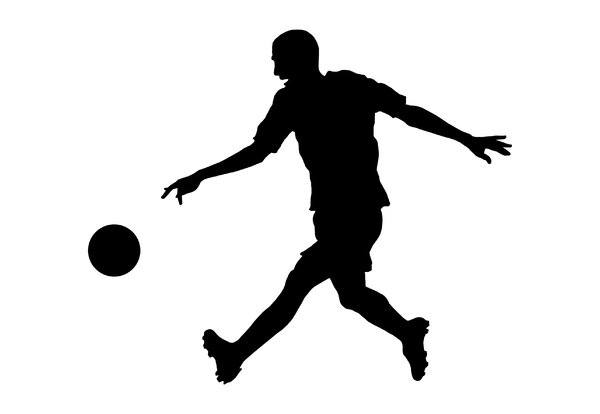 Football 3: Silhouette of soccer player