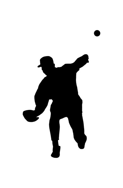 Baseball player 5: Silhouette of pitcher