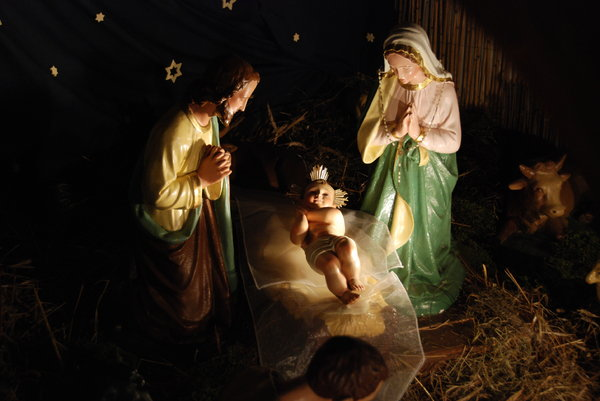 Nativity scene in polish churc: