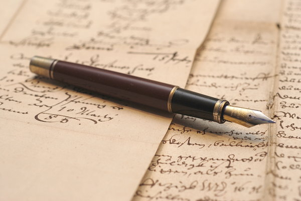 Vintage fountain pen 1: Pen on old german hadwriting