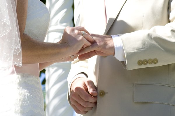 The vows: Pledging their lives to each other.