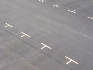 Empty parking lot: Empty parking lot. More useful than beautiful, i.e. a stock photo.
