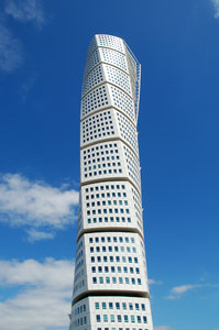 Turning Torso 4: HSB Turning Torso is a skyscraper in Malmö, Sweden, located on the Swedish side of the Öresund strait. It was designed by the Spanish architect Santiago Calatrava and officially opened on 27 August 2005. The tower reaches a height of 190 metres with 54