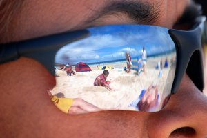 beach scene: our family reflected.