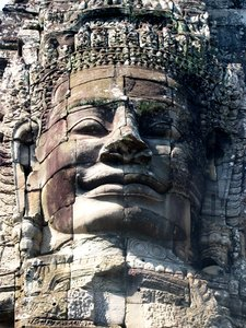 Angor carving: face carving at bayon temple, angor wat