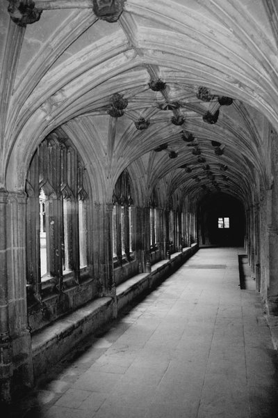 Abbey cloisters in black and w: Cloisters in an old abbey. Converted from colour to black and white.