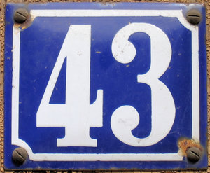 43 - fourtythree: 43 - fourtythree - a house number which might also illustrate 43th anniversarys or birthdays