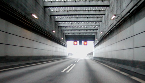 Tunnel ending: Exiting the Öresund tunnel. Picture taken doing about 100 km/h (60 mph).