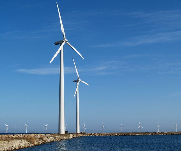 Windmills on coastline
