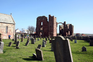 Lindisfarne Priory 2: Lindisfarne Priory on Holy Island was one of the most important centres of early Christianity in Anglo-Saxon England. It is still a place of pilgrimage today, the dramatic approach across the causeway adding to the fascination of the site.