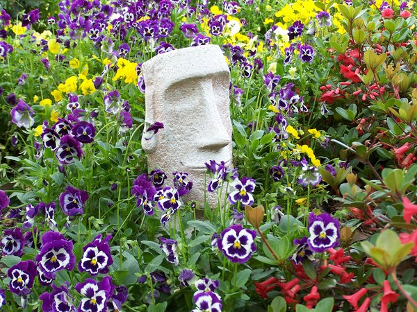 Statue in the pansies 1
