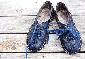 Blue, blue, blue school shoes: Old blue shoes, from bygone school days