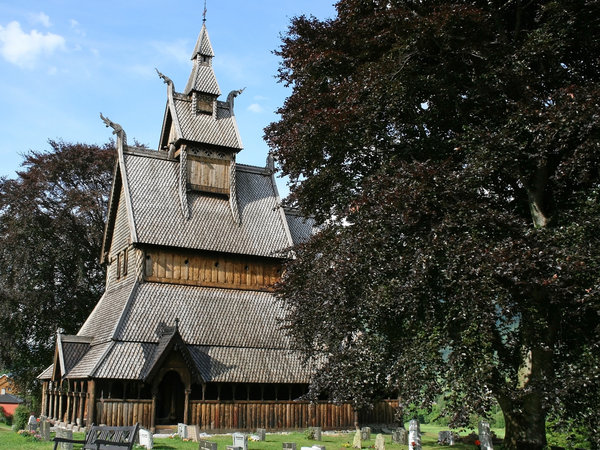 Traditional church: A wooden stave church in Norway.