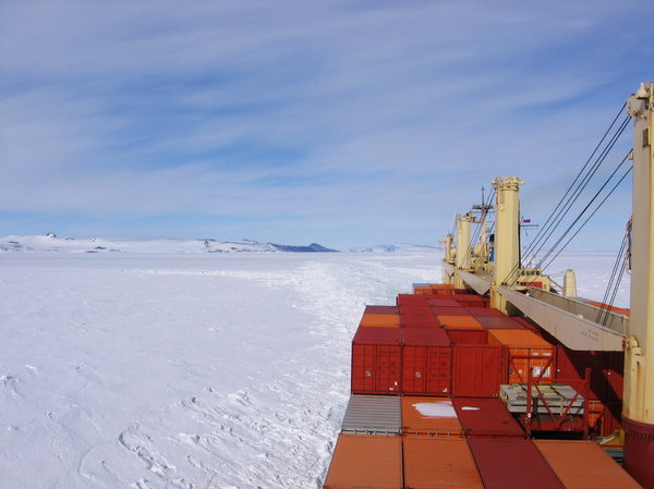 McMurdo, behind dark hill