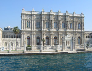 Dolmabahce Palace: Dolmabahce Palace on the banks of the Bosphorus,Istanbul,Turkey