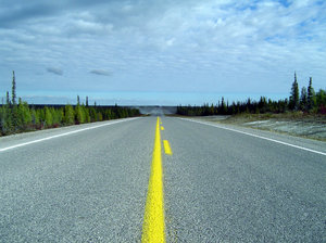 Highway Perspective: Highway shot taken 200km from Yellowknife.